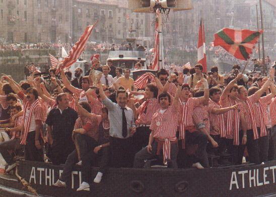 I festeggiamenti del Bilbao sul fiume Nerviòn