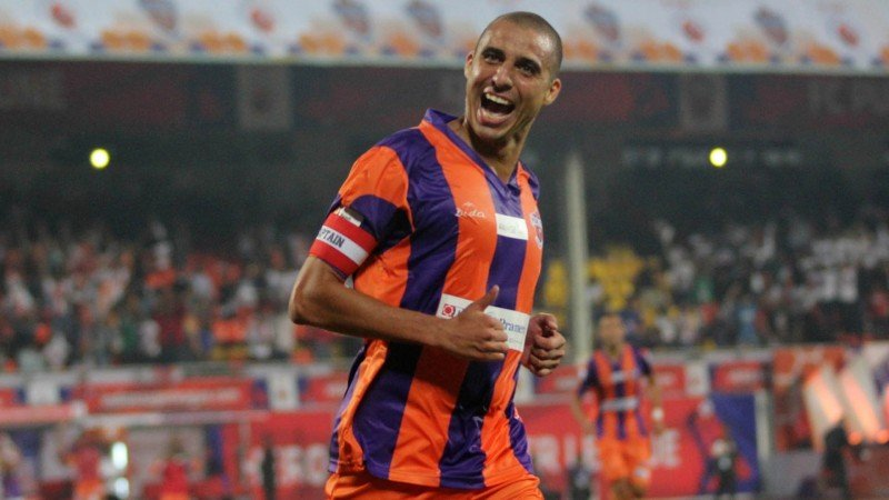 David Trezeguet of FC Pune City celebrates after scoring a goal during match 14 of the Hero Indian Super League between FC Pune City and FC Goa held at the Shree Shiv Chhatrapati Sports Complex Stadium, Pune, India on the 26th October 2014. Photo by: Vipin Pawar/ ISL/ SPORTZPICS